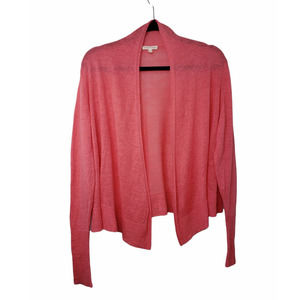 SOLD Eileen Fisher coral open front linen cardigan